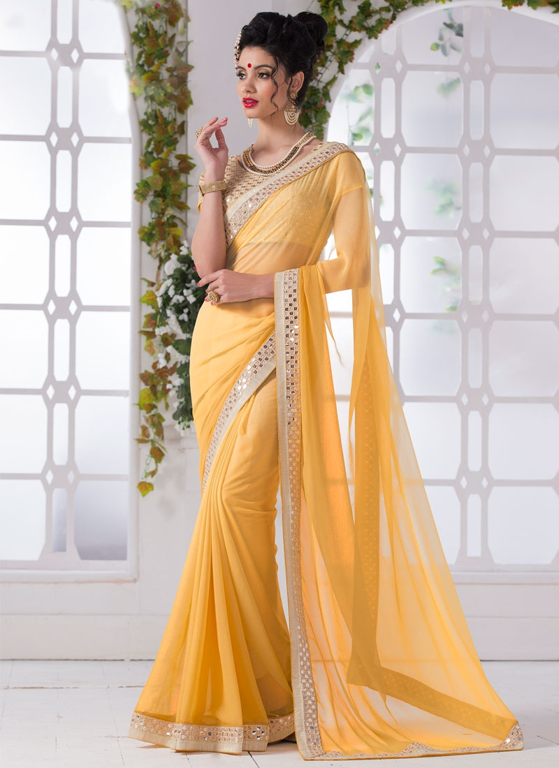 Entrancing Lace And Mirror Work Casual Saree
