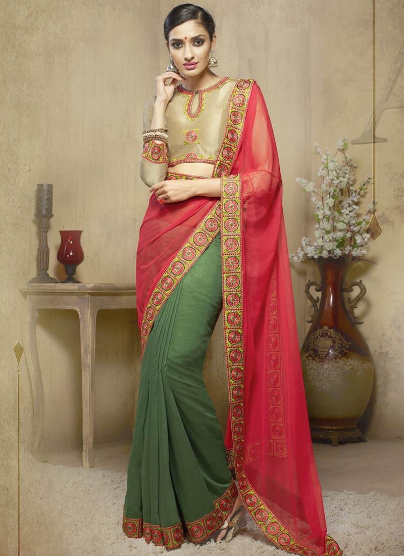 Entrancing Lace Work Net Half N Half Party Wear Saree