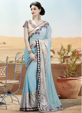 Entrancing Light Blue Color Resham Work Designer Saree