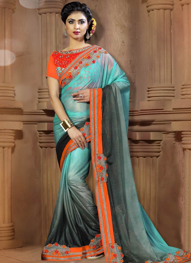 Entrancing Lycra Lace Work Party Wear Saree