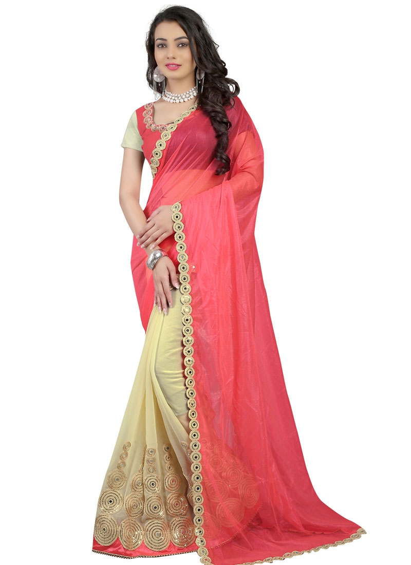 Entrancing Mirror And Sequins Work Half N Half Party Wear Saree