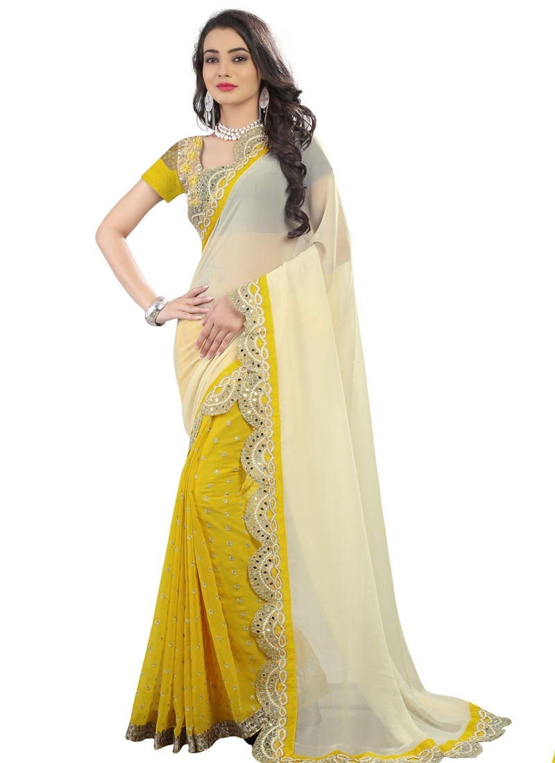 Entrancing Mirror Work Yellow Color Half N Half Party Wear Saree