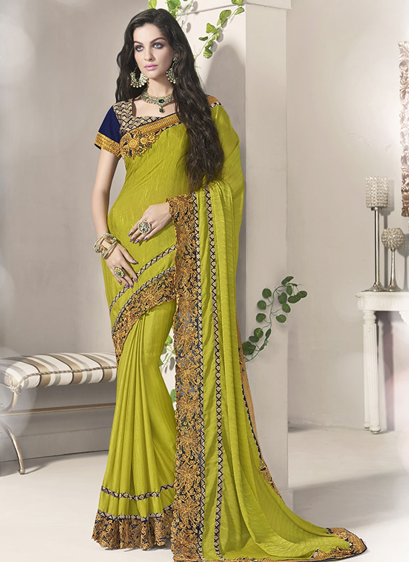 Entrancing Patch Border Work Jacquard Party Wear Saree