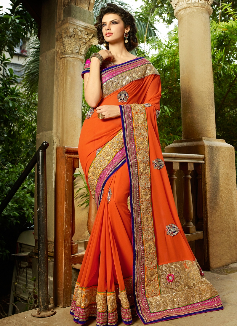 Entrancing Patch Border Work Wedding Saree