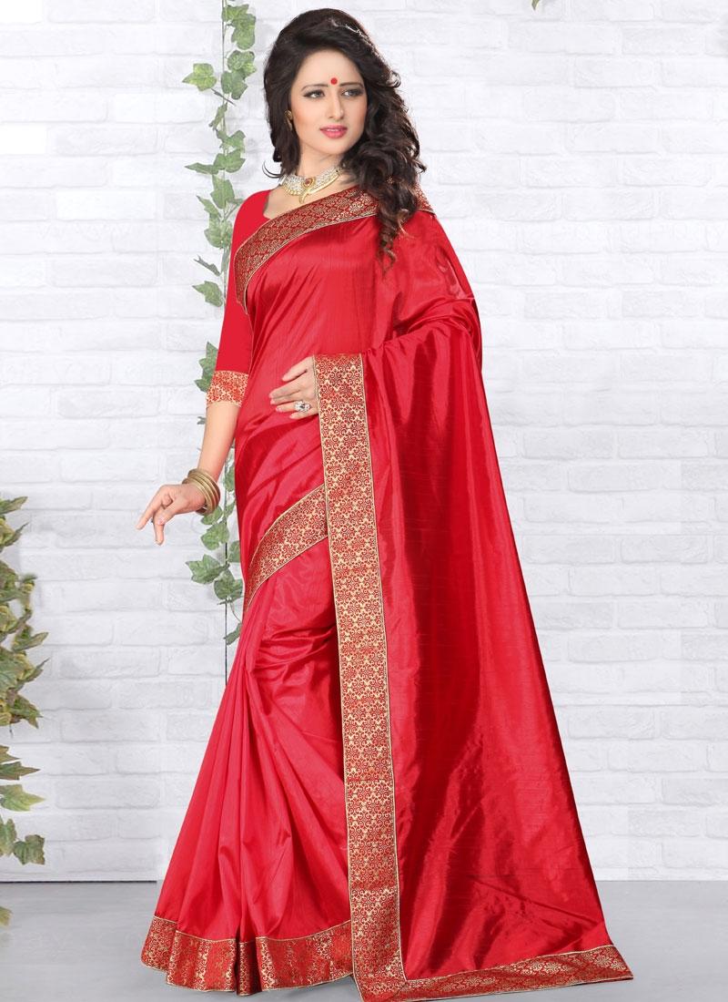 Entrancing Red Color Art Silk Casual Saree
