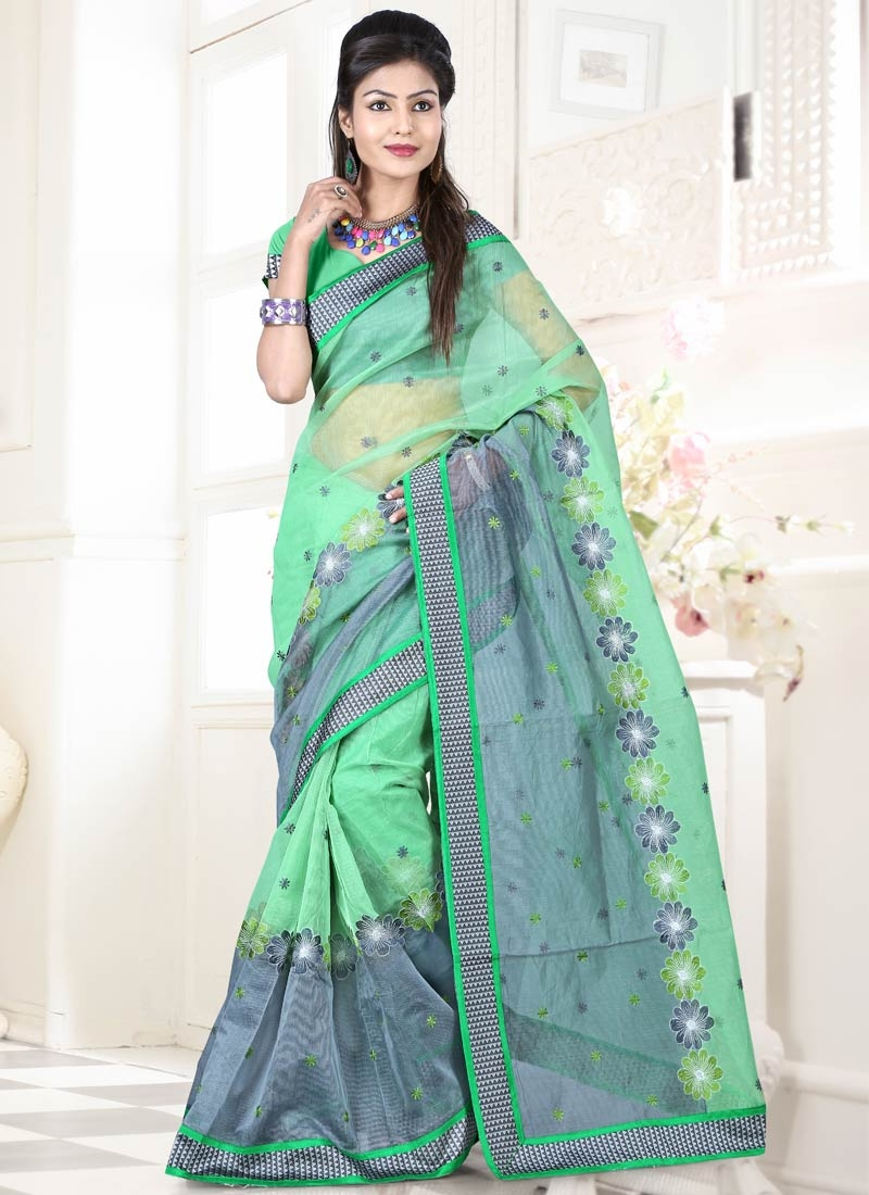 Entrancing Resham And Lace Work Party Wear Saree