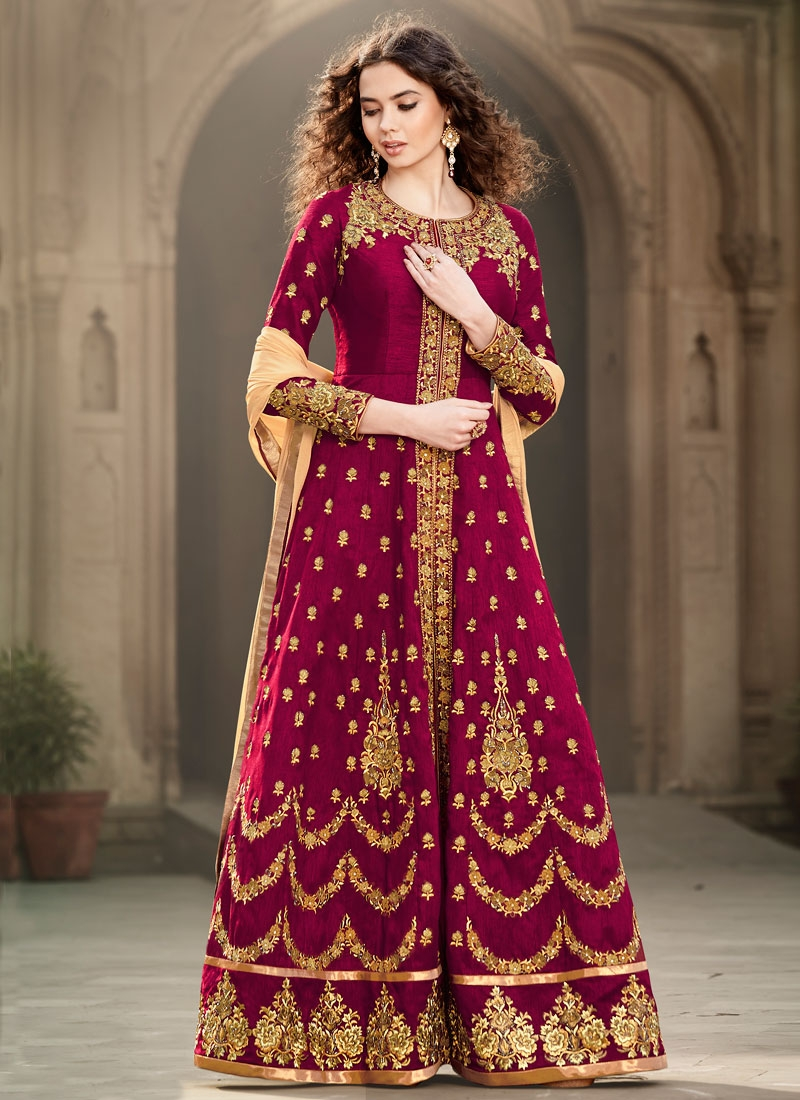 Entrancing Resham Work Banglori Silk Long Length Wedding Salwar Suit