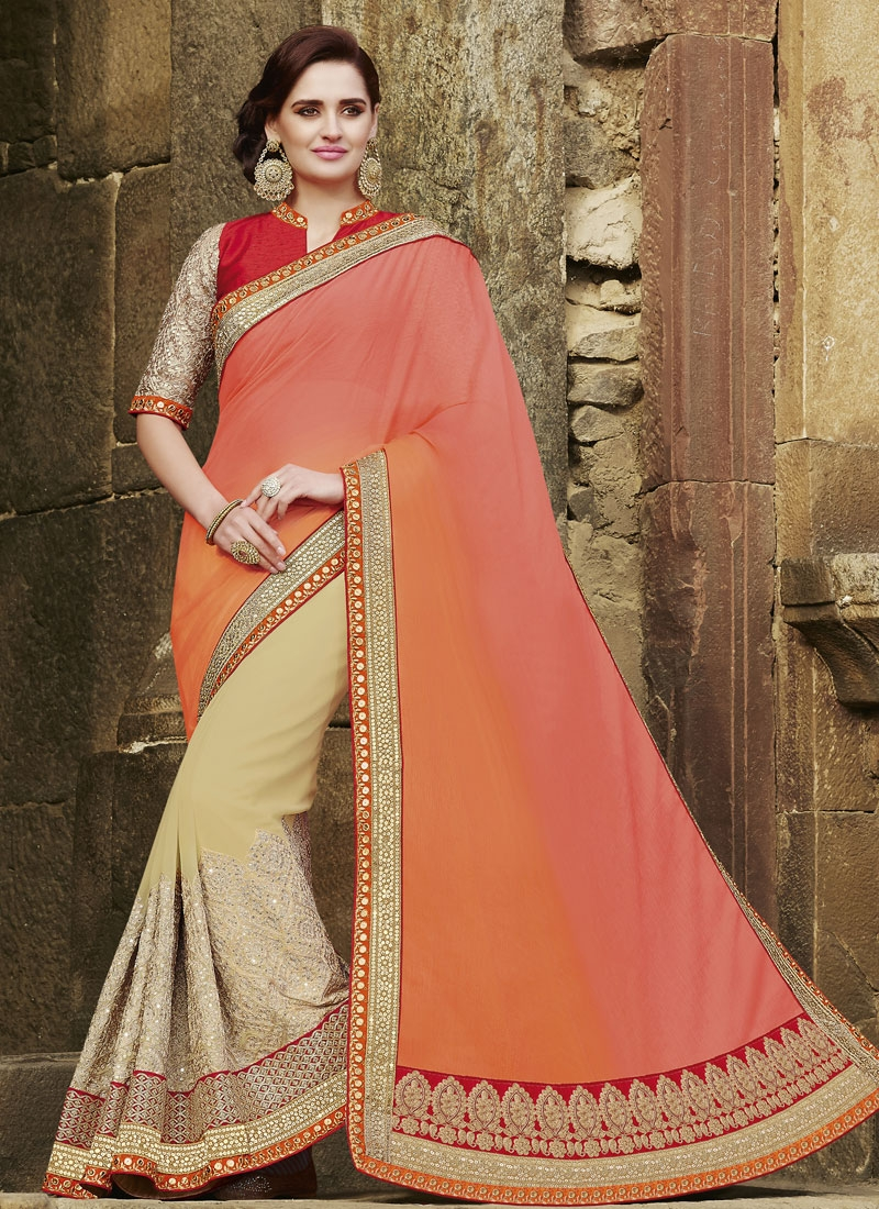 Entrancing Sequins And Patch Border Work Half N Half Designer Saree