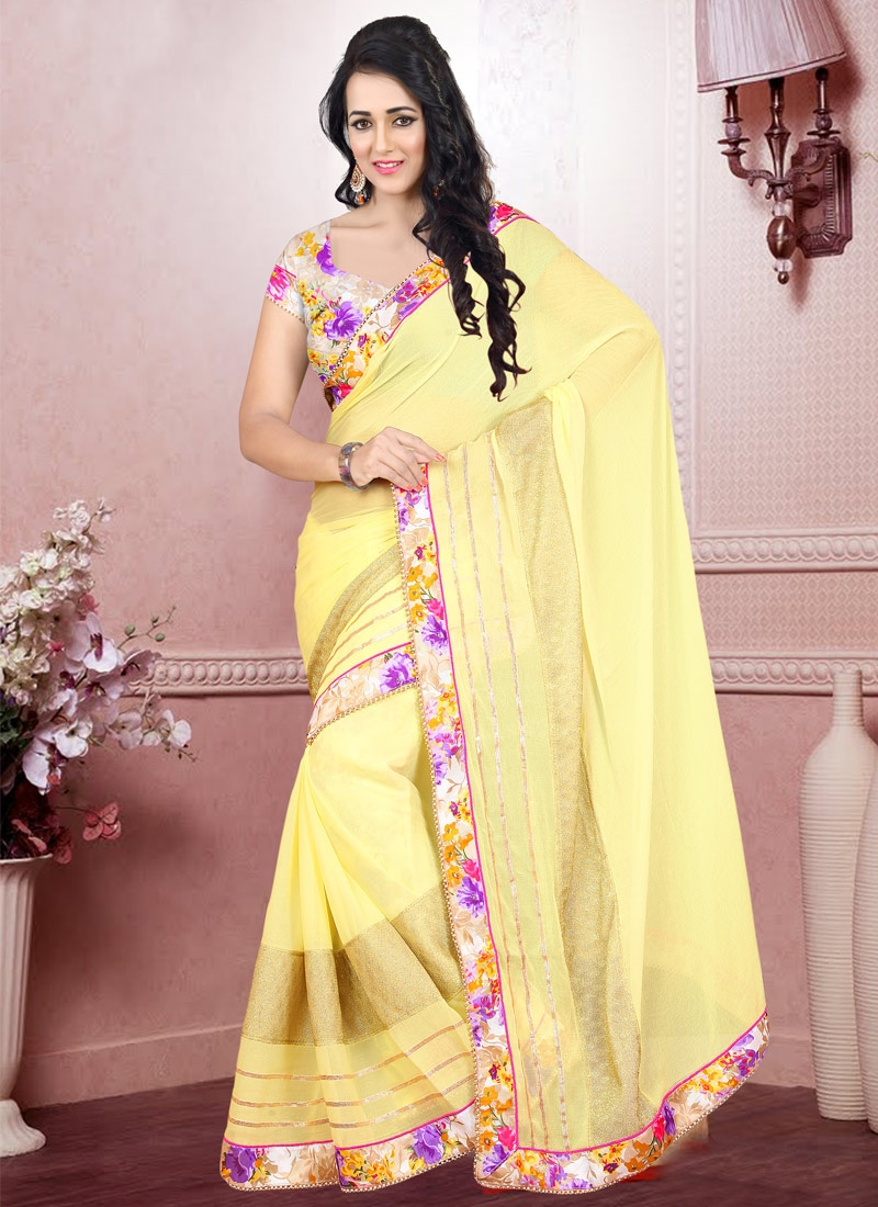 Entrancing Yellow Color Lace Work Casual Saree