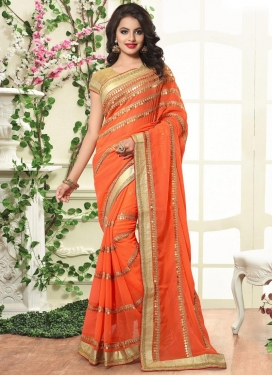 Epitome Bamberg Georgette Lace Work Designer Contemporary Style Saree For Ceremonial