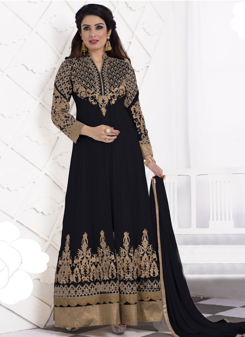 Epitome Black Color Long Length Designer Salwar Suit