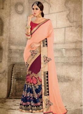 Epitome Booti Work Faux Georgette Designer Half N Half Saree For Ceremonial