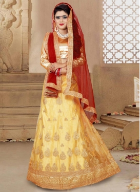 Epitome Cream and Crimson A - Line Lehenga