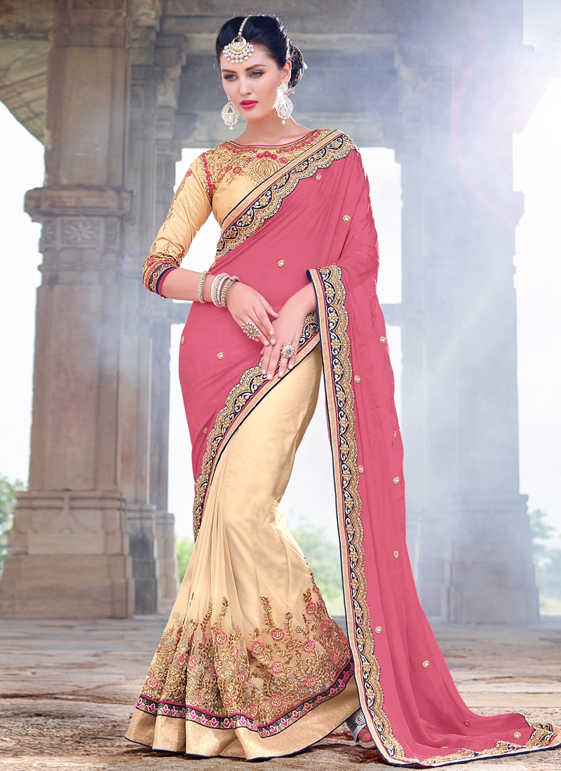 Epitome Embroidery Work Half N Half Wedding Saree
