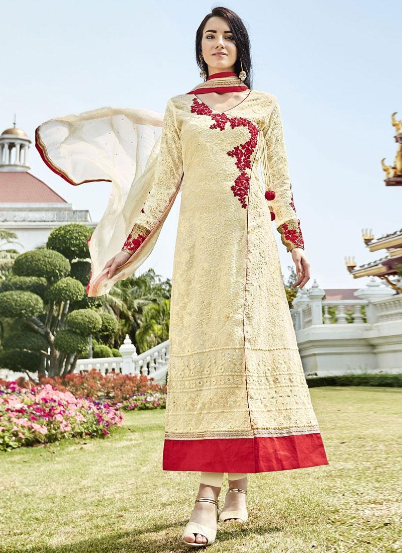 Epitome Lace Work Cream Color Long Length Designer Suit
