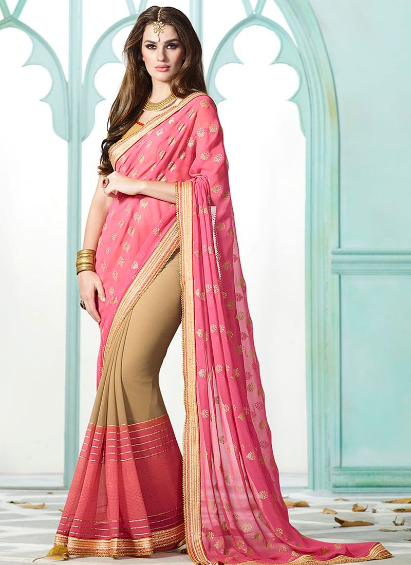 Epitome Lace Work Hot Pink Color Party Wear Saree