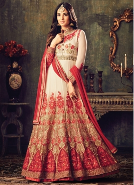 Epitome Off White and Tomato Salwar Kameez For Festival