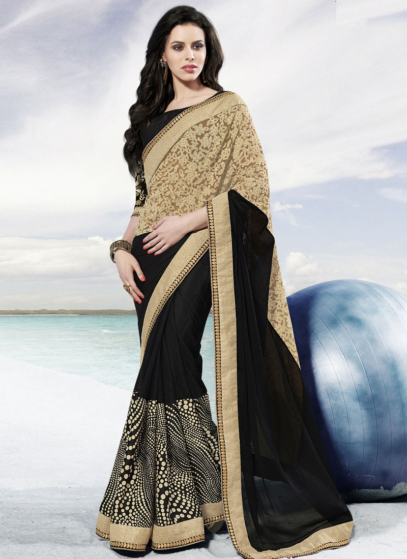 Epitome Resham Work Beige Color Party Wear Saree