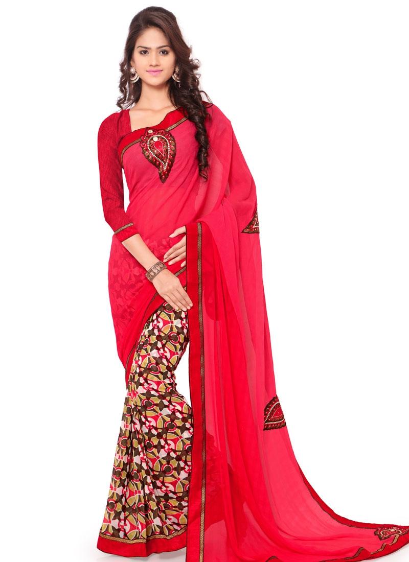 Especial Booti And Stone Work Half N Half Casual Saree