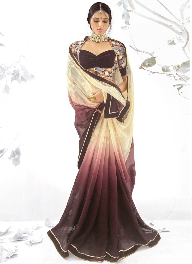 Especial Coffee Brown Color Jacquard Party Wear Saree