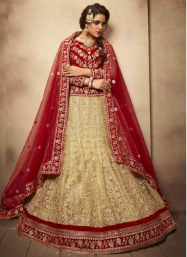 Especial Cream Color Lace Work Wedding Lehenga Choli