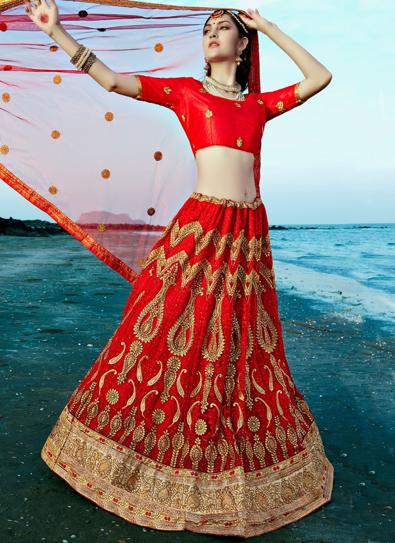 Especial Embroidery Work Red Color Bridal Lehenga Choli