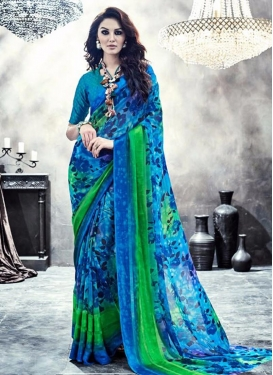 Especial Faux Georgette Blue and Green Digital Print Work Classic Saree