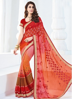 Especial Faux Georgette Embroidered Work Orange and Red Designer Contemporary Style Saree