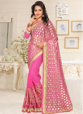 Especial Hot Pink Embroidered Work Designer Contemporary Saree