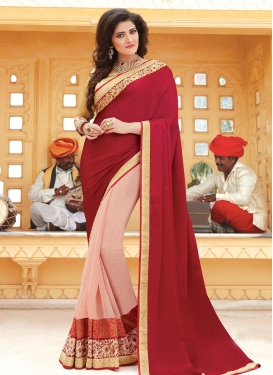 Especial Lace Work Faux Georgette Half N Half Trendy Saree For Ceremonial