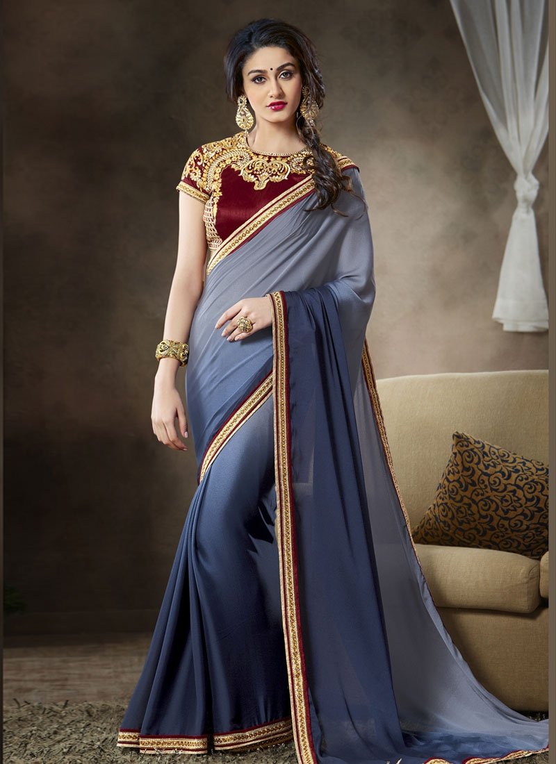 Especial Navy Blue Color Satin Party Wear Saree