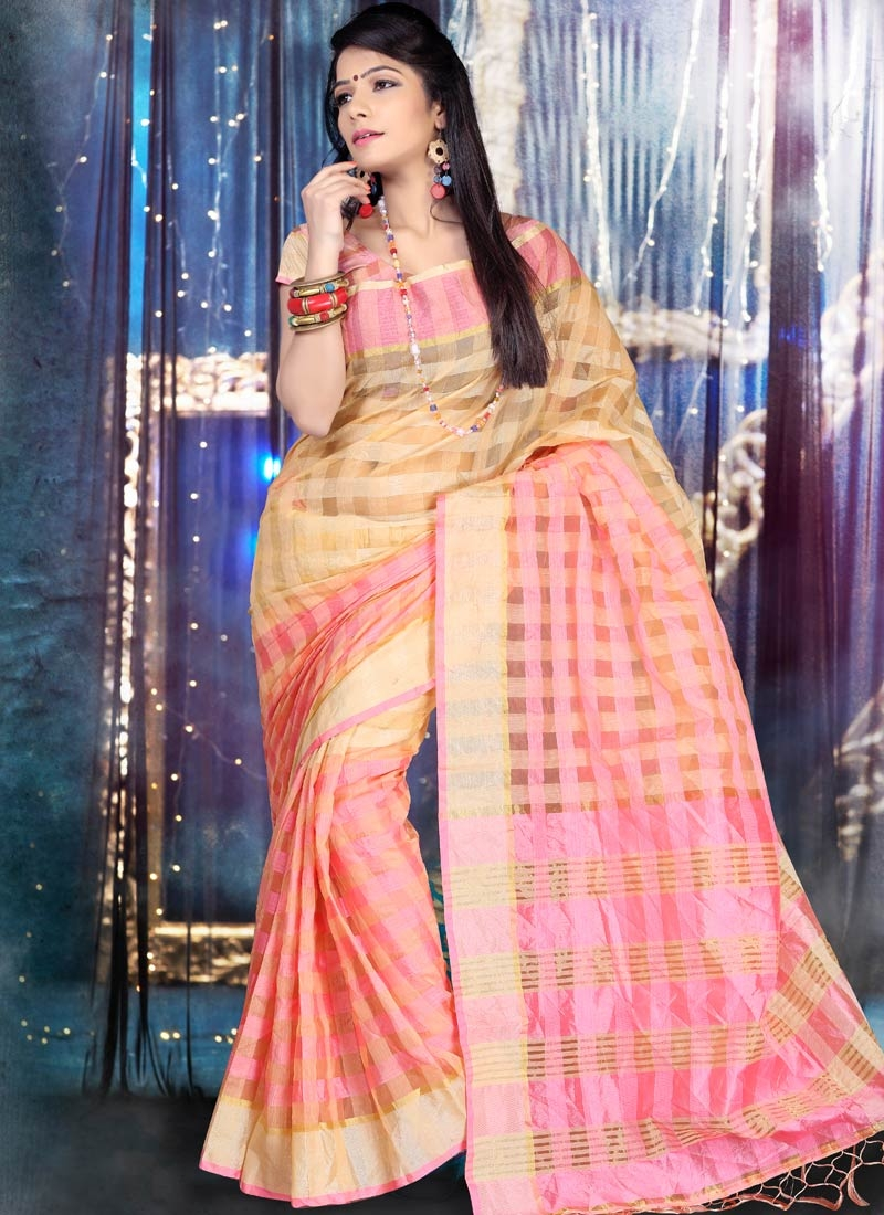 Especial Beige And Pink Color Casual Saree