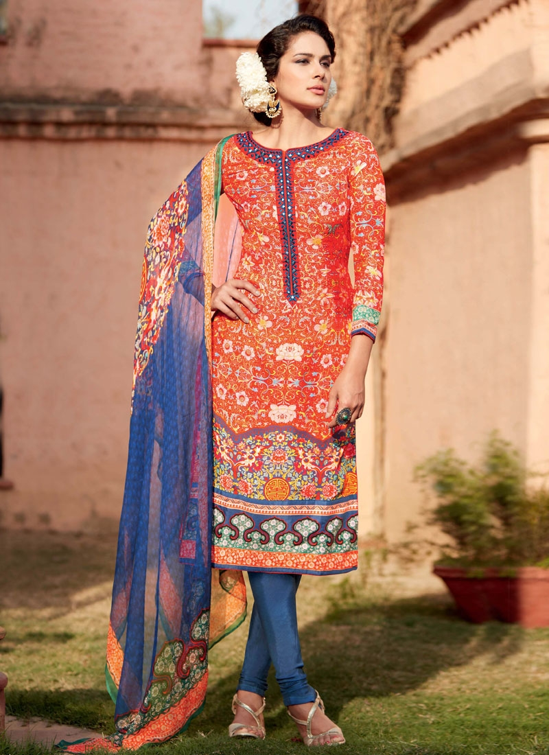 Especial Cotton Silk Resham Work Churidar Salwar Kameez