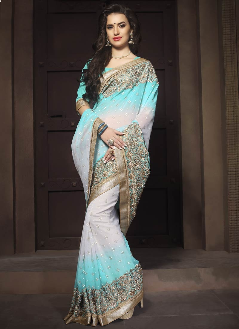 Especial Embroidery And Stone Work Wedding Saree