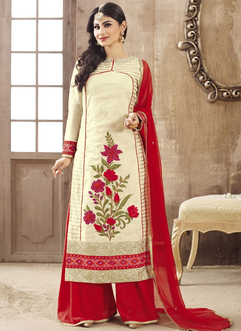 Especial Floral Work Mouni Roy Palazzo Style Party Wear Suit