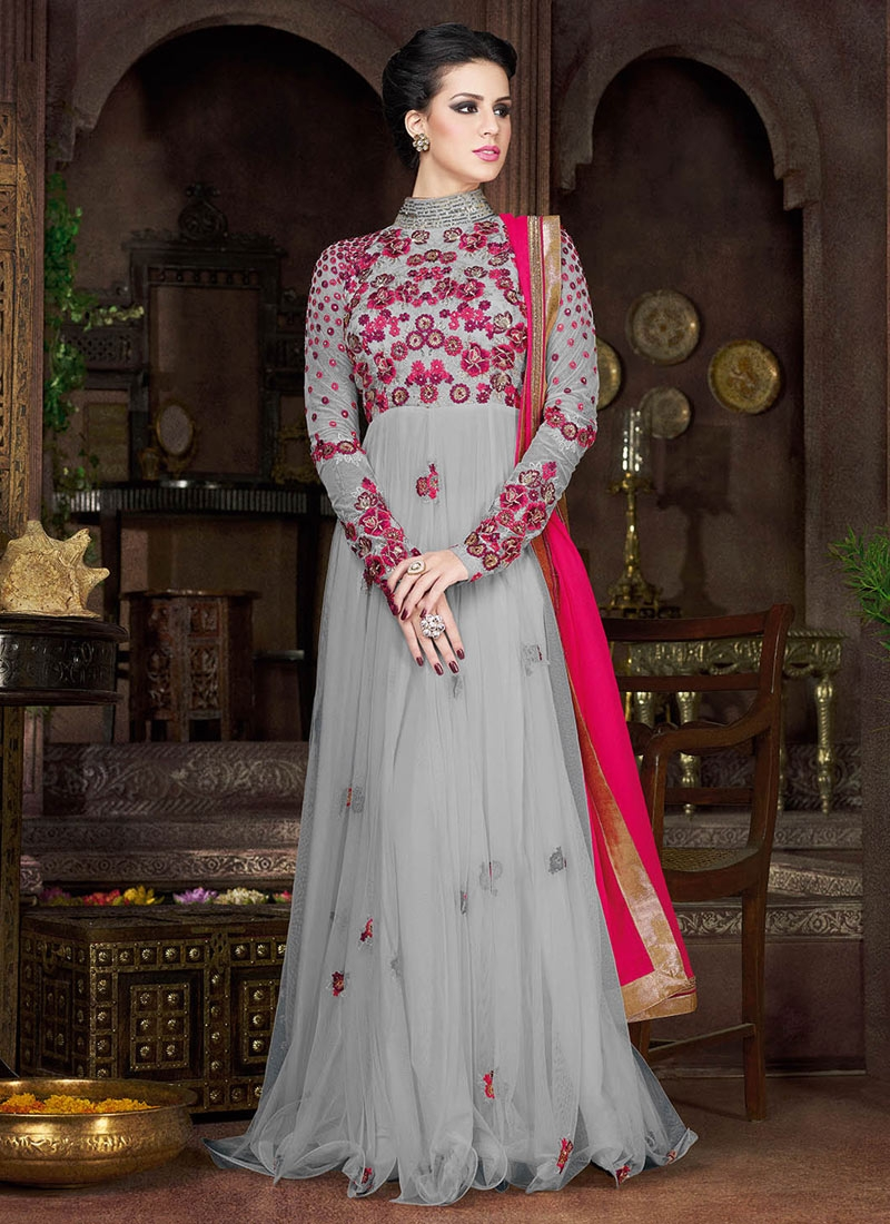 Especial Grey Color Floor Length Designer Salwar Suit