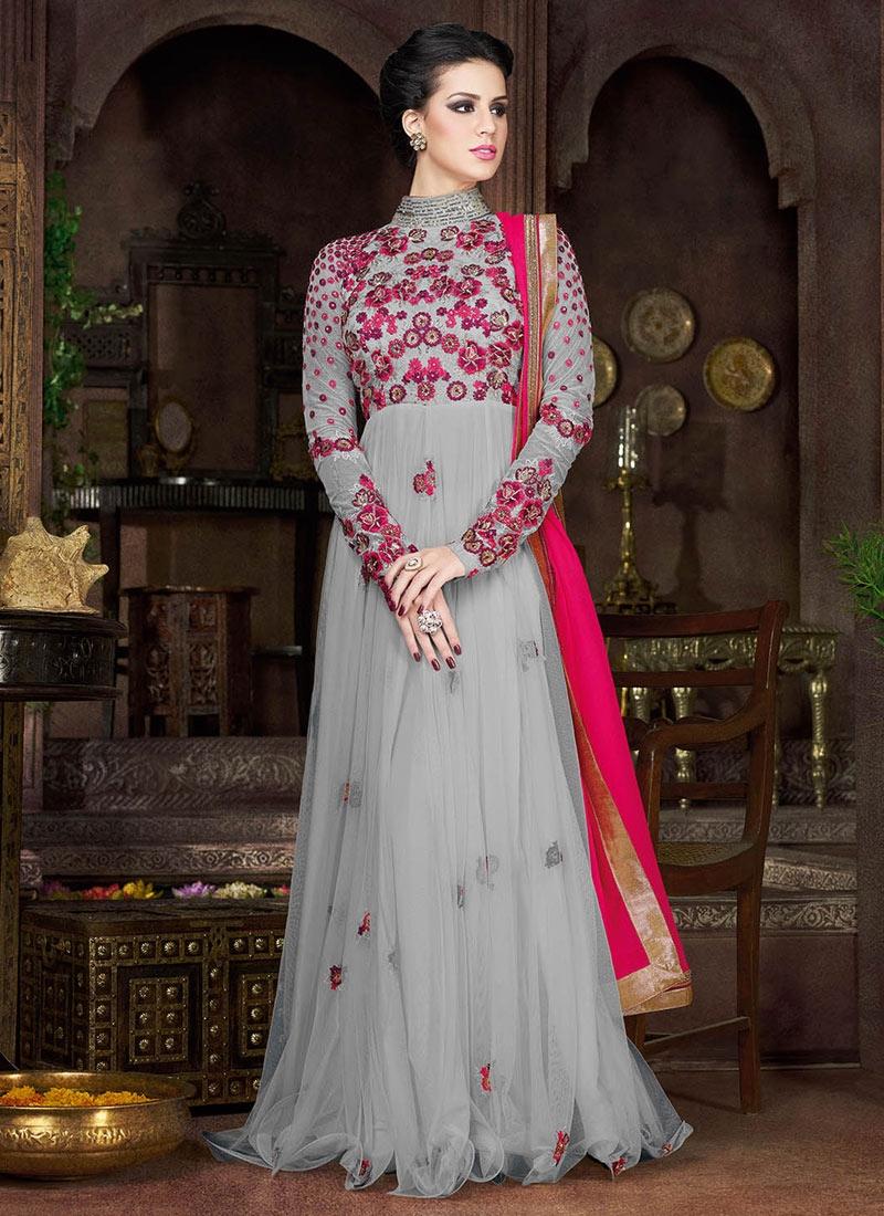 EspecialGrey Color Floor Length Designer Salwar Suit