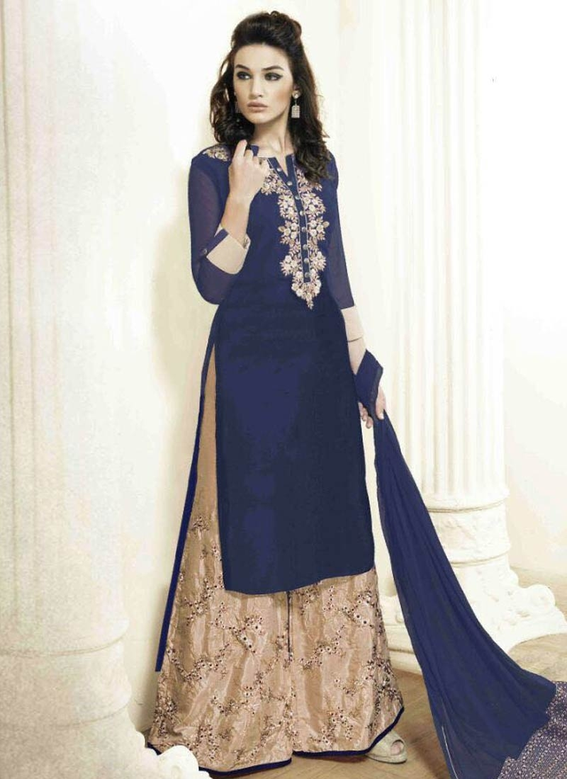 Especial Navy Blue Color Palazzo Style Designer Salwar Suit