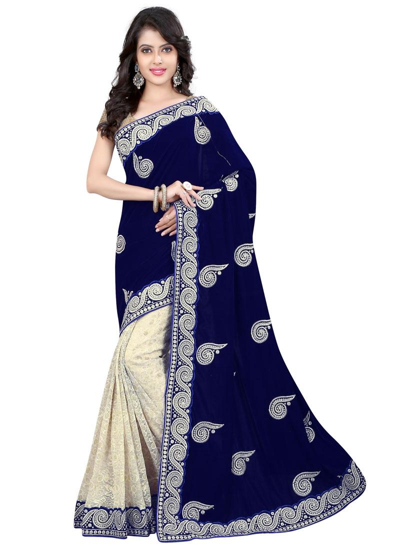 EspecialNavy Blue Color Velvet Half N Half Wedding Saree