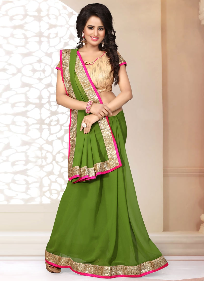 Especial Olive Color Lace Work Casual Saree