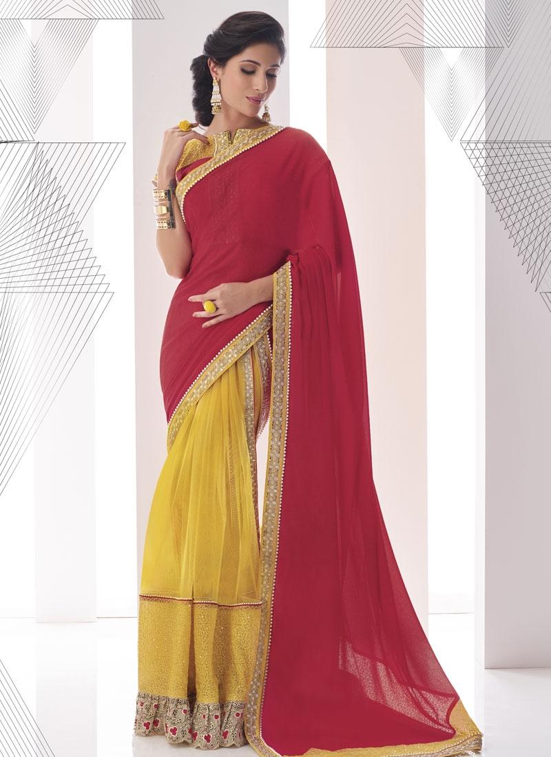 EspecialPatch Border Work Net Half N Half Designer Saree