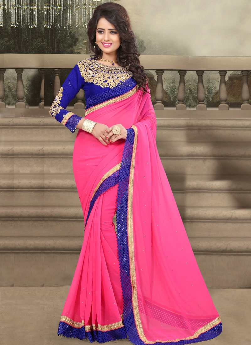 Especial  Resham Work Faux Georgette Party Wear Saree