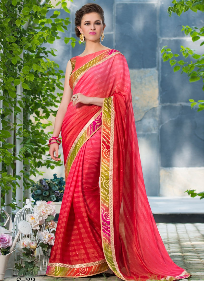 Especial Rose Pink Color Lace Work Party Wear Saree