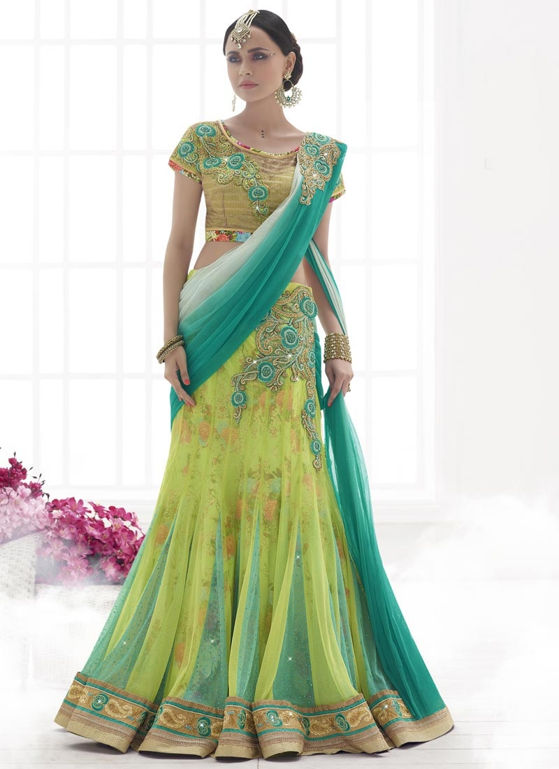 Especial Stone And Zardosi Work Designer Lehenga Saree