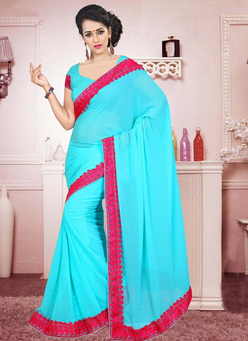 Especial Turquoise Color Stone Work Casual Saree