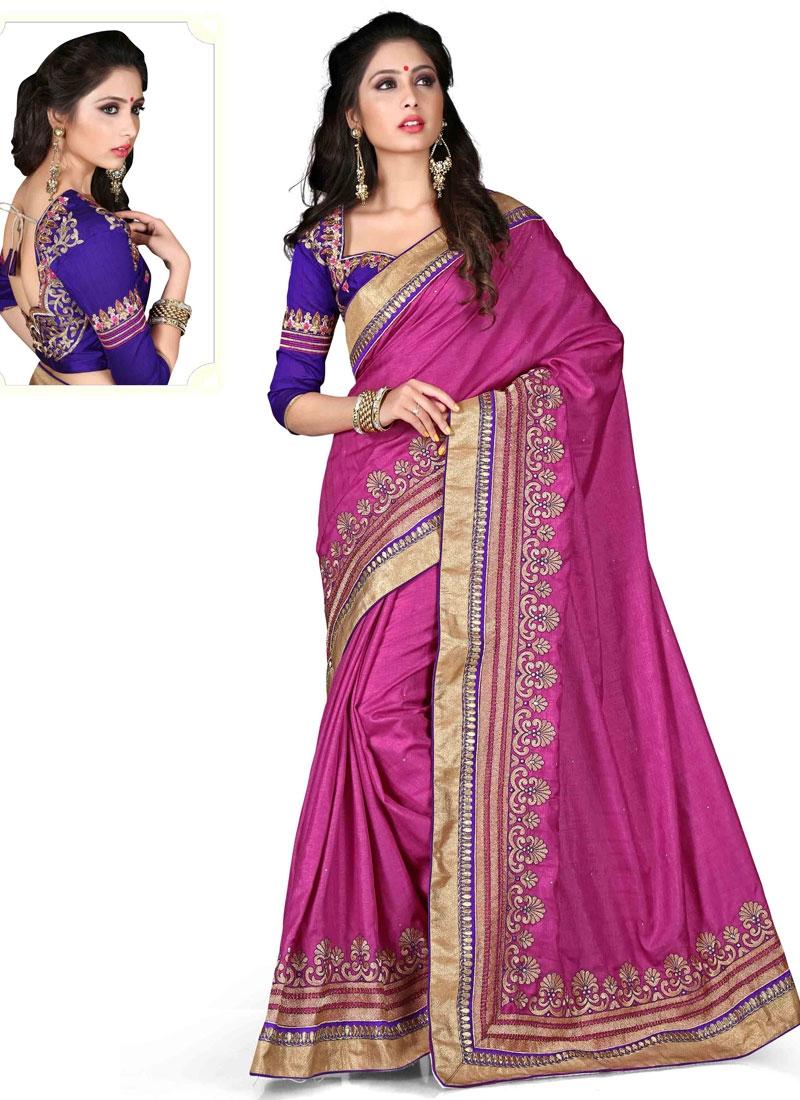 Especial Resham Work Silk Designer Saree