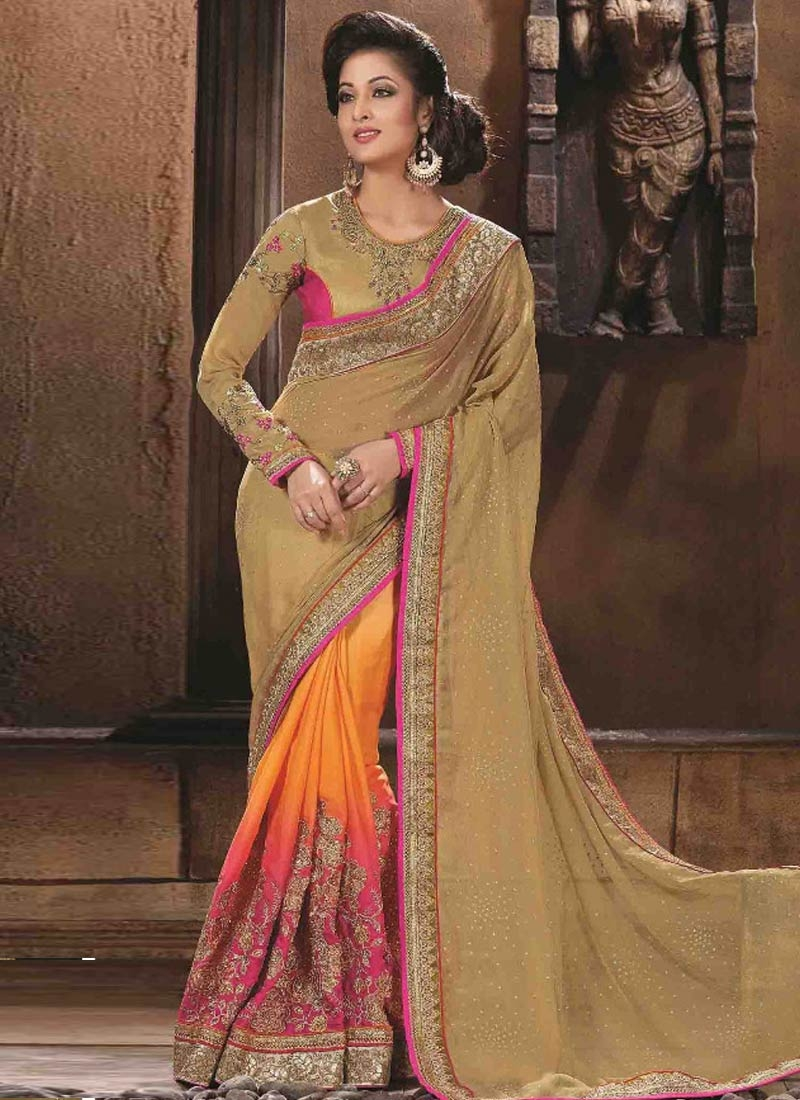 Especial Sequins Work Silk Half N Half Wedding Saree