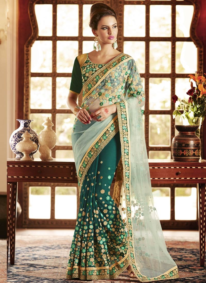 Especial Teal Color Stone Work Half N Half Wedding Saree