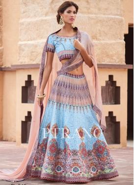 Ethnic  Abstract Print Work Light Blue and Peach Silk Trendy Designer Lehenga Choli