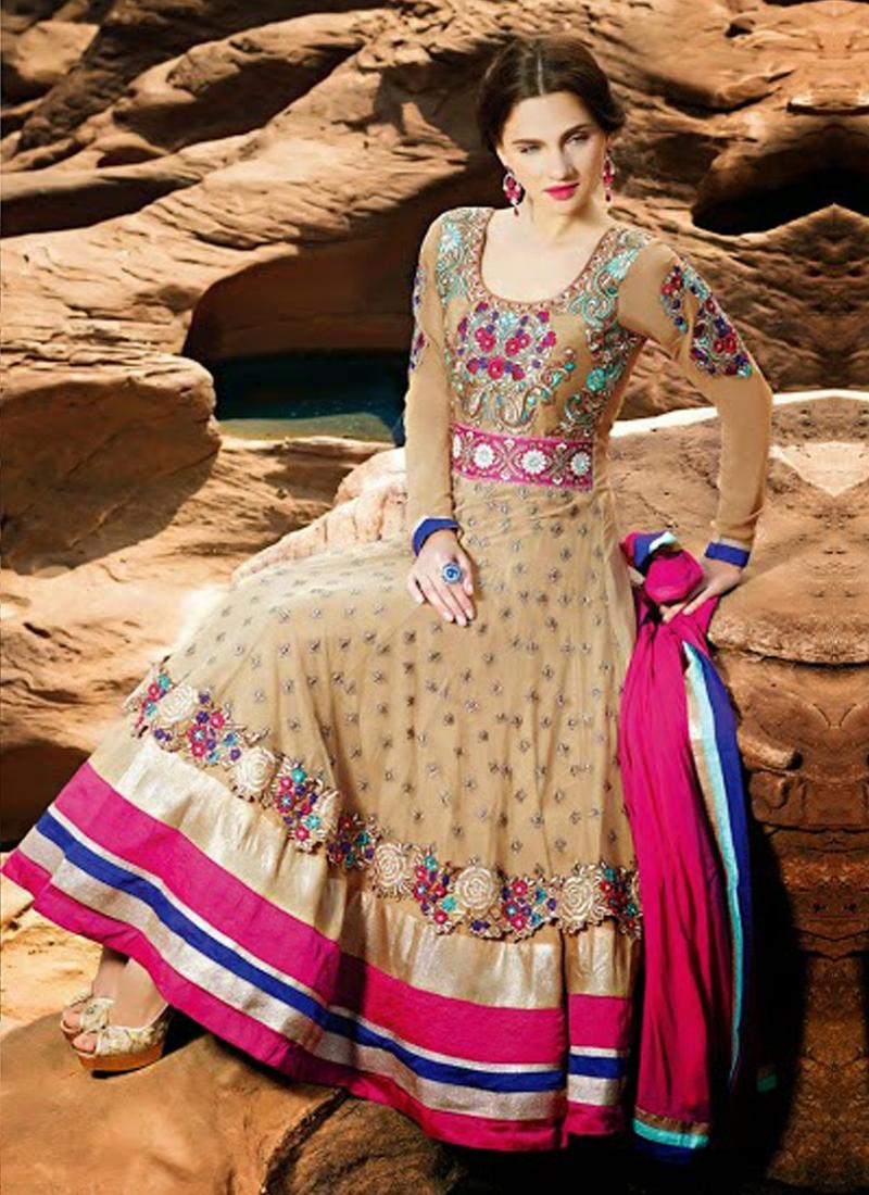 Ethnic Beige Color Net Designer Salwar Kameez